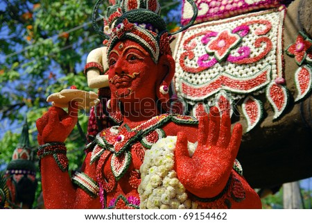 Decorative figure on Chang Mai Flower Festival - stock photo
