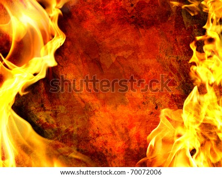 Decorative flame on grunge background - stock photo