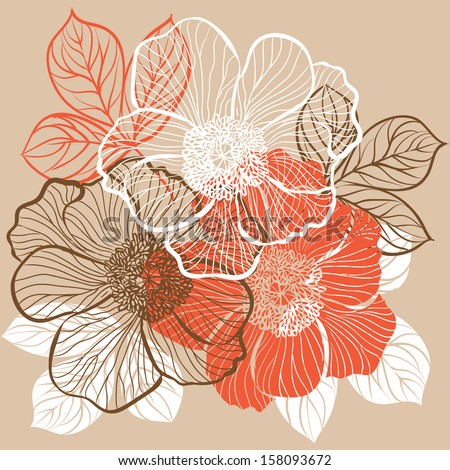 Decorative floral background with flowers of peony. Raster version. Vector is also available in my gallery