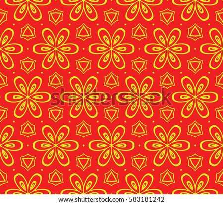 decorative floral ornament. seamless raster copy illustration. red, yellow color. stylish geometrical design. template for textile, wallpaper, page fill, decor, fabric