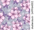 Decorative floral seamless pattern with cherry blossom. Raster version. Vector is also available in my gallery - stock