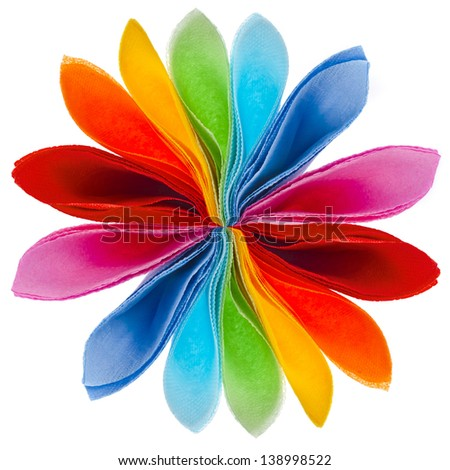 decorative flower of colored paper napkins  isolated on white background - stock photo
