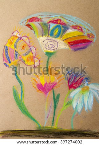 Decorative flowers in pastels - wallpaper.