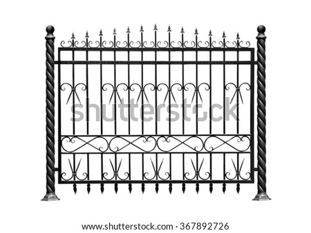Decorative, forged  barrier, fence  in old  stiletto. Isolated over white background. - stock photo