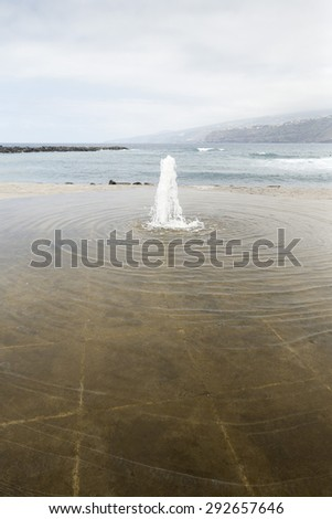 Decorative fountain along the coast in Puerto de la Cruz, Tenerife