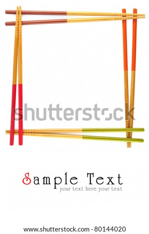 Decorative frame of bamboo chopsticks isolated on a white. - stock photo