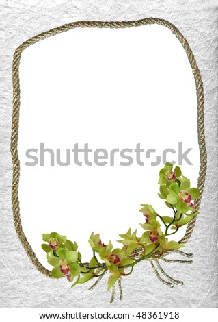 decorative frame with green orchid - background for your text