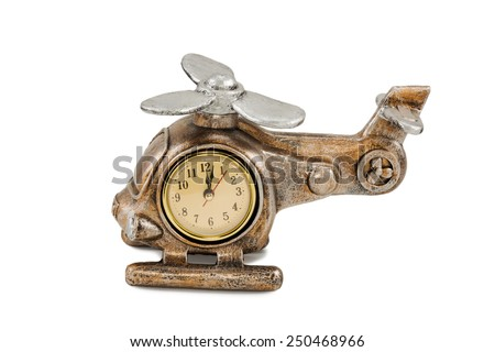 Decorative gift clock in the form helicopter isolated on white background - stock photo