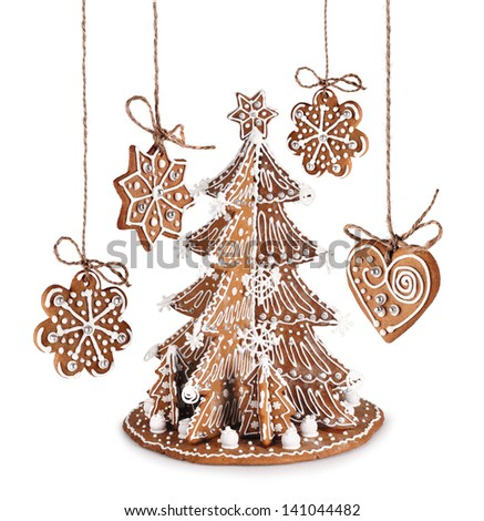Decorative Gingerbread Christmas tree, star, heart with sugar icing - stock photo