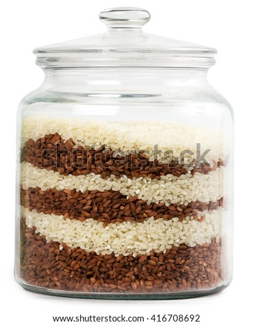 Decorative glass jar with rice