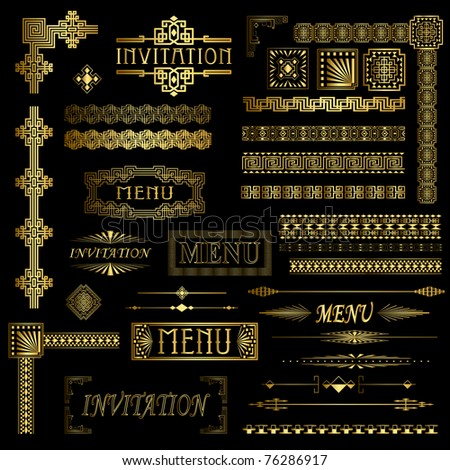 Decorative gold menu and invitation border elements - stock photo