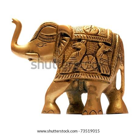 Decorative golden elephant isolated over white - stock photo