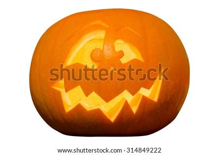 Decorative Halloween Pumpking Isolated on White Background - stock photo