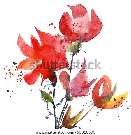 Decorative hand-painted floral illustration - stock photo