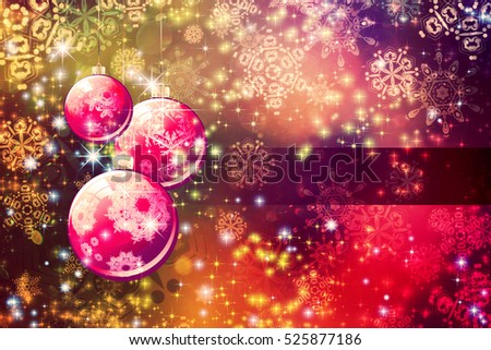 Decorative holiday background with Christmas balls and snowflakes.