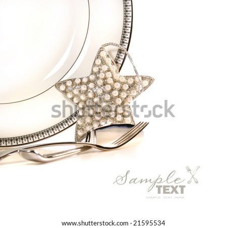 Decorative holiday plate with ornament on festive background - stock photo