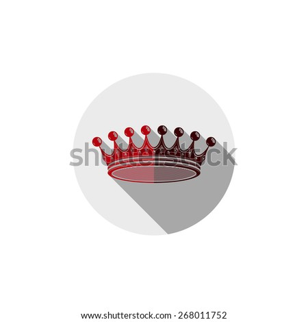 Decorative imperial 3d icon isolated on white. Golden king crown placed in a circle, brand element for VIP services. - stock photo