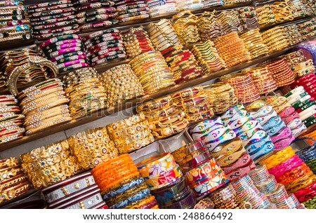decorative Indian Iangles on display at a market - stock photo