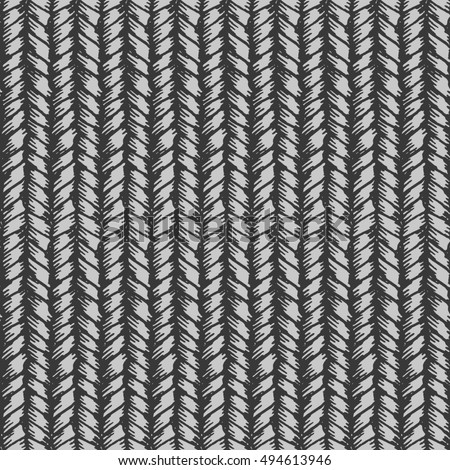Decorative knit seamless pattern. Hand drawn endless gray knitting ornament. Trendy messy knitwork texture. Design for cloth, backdrops, apparel, wrapping, wallpaper
