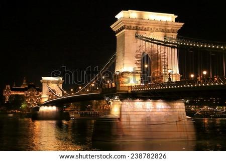 Decorative lights on the Chain bridge during night, Budapest, Hungary - stock photo