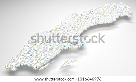 Decorative map of Sweden - Europe | 3d Rendering, fall down of little bricks - White and Flag colors