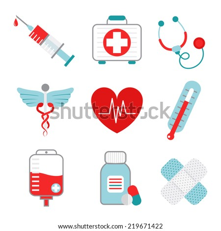Decorative medical emergency first aid kit symbols pictograms collection with injection syringe abstract flat isolated  illustration