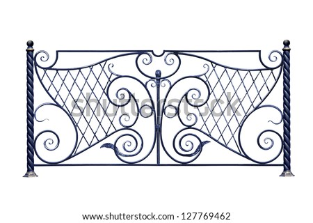 Decorative metal fence in old  stiletto. Isolated over white background. - stock photo