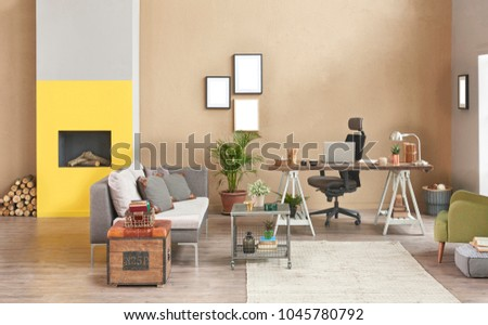 Decorative Modern Freelance Home Office Style Stock Photo