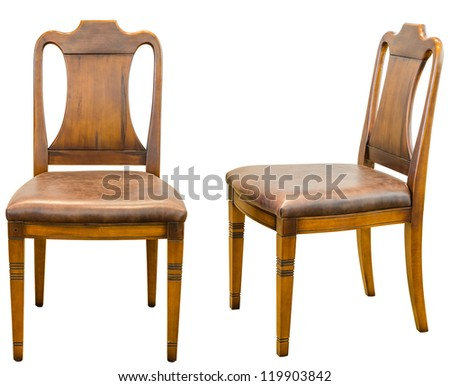 Decorative modern style wooden chair , kind of furniture  isolated on white background - stock photo