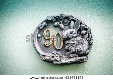 Decorative Name Plate With Number Of The House. Bronze Rabbit Home Number  Plate. Bronze