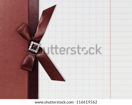 Decorative Notepad with Bow - stock photo