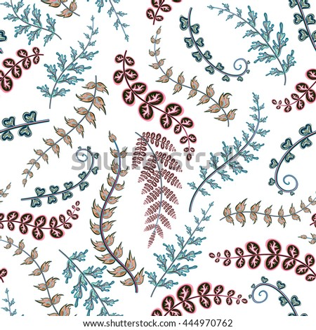 Decorative ornamental seamless spring pattern. Endless elegant texture with blue pink leaves. Template for design fabric, backgrounds, wrapping paper, package, covers