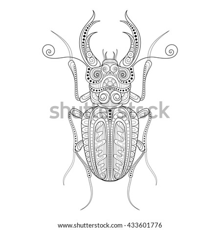 Decorative Ornate Beetle, Lucanus Cervus. Monochrome Illustration of Exotic Insect. Patterned Design Element - stock photo