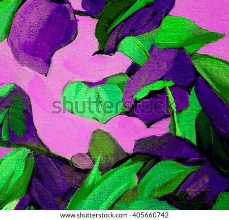 decorative painting with leaves on violet background, illustration, pattern, wallpaper - stock photo