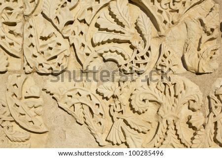 Decorative panel from the Hall of Abd al-Rahman III. Madinat Al-Azahra or Medina Azahara. Cordoba. Andalusia. Spain. - stock photo