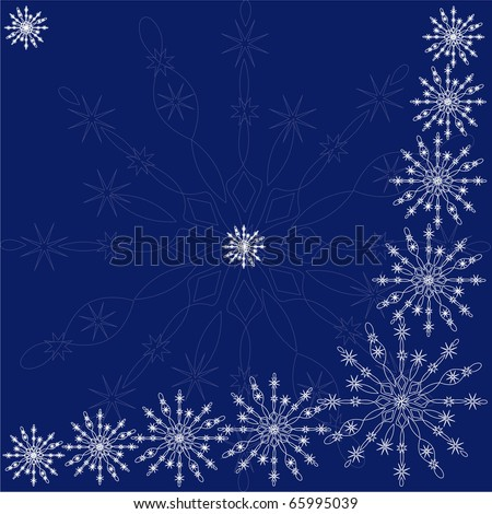 Decorative pattern from snowflakes on a darkly dark blue background for a decoration