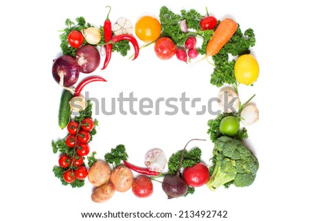 decorative pattern of fresh vegetables on white background - stock photo