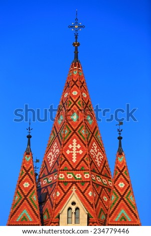 Decorative pattern on the roof of St Matthias church in Budapest, Hungary - stock photo