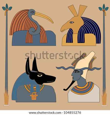 Decorative pattern with a vibrant original African feel, featuring four ancient Egyptian gods - stock photo