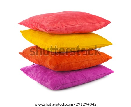 Decorative pillows isolated on white background - stock photo