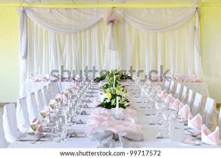 Decorative placemats on the table - banquet - stock photo