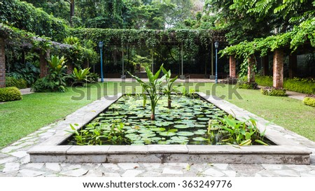 decorative pond in the Botanic Garden of Singapore