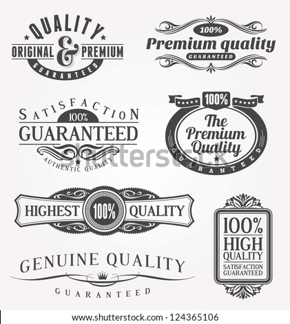 Decorative quality emblems - stock photo