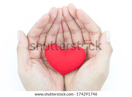 decorative red heart in human hands isolated on a white background. Valentine's Day