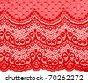 Decorative red lace on insulated white background - stock photo