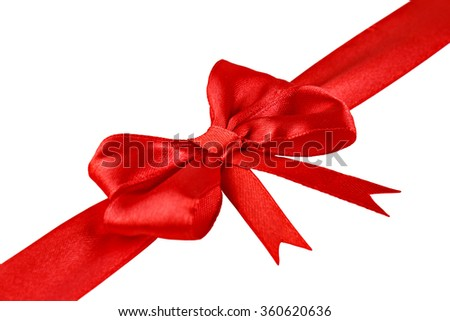 Decorative red ribbon with a bow isolated on white