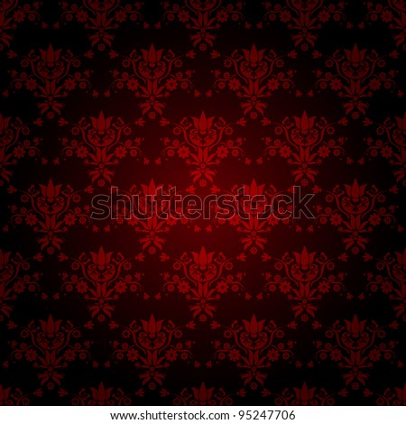 decorative red seamless wallpaper with dark background, vector version also available in my portfolio - stock photo