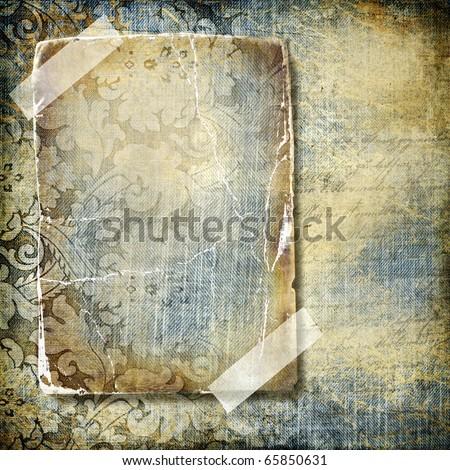 decorative retro background with blank frame - stock photo