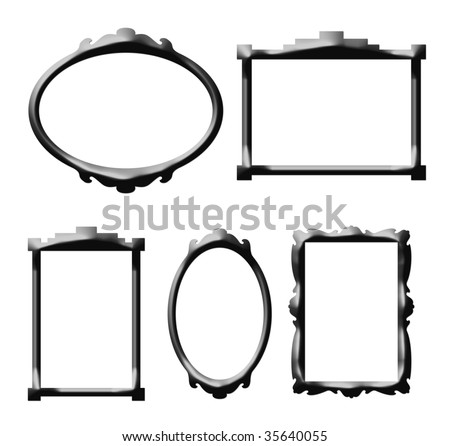 Decorative retro style picture frames isolated on white background.