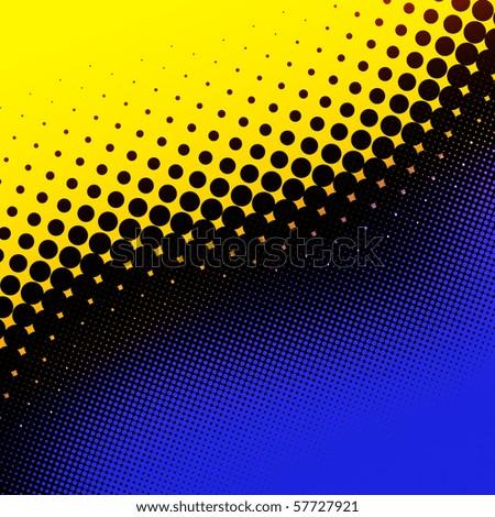 Decorative retro yellow and blue halftone background - stock photo
